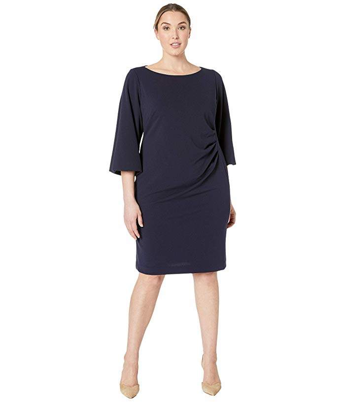 Plus Size 130H Luxe Tech Crepe Louisa Elbow Sleeve Day Dress
