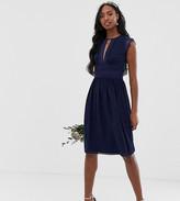 TFNC Tall Tall lace detail midi bridesmaid dress in navy