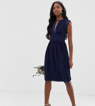 TFNC Tall Tall lace detail midi bridesmaid dress in navy