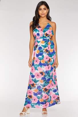 Quiz Pink Blue And Orange Chiffon Maxi Dress