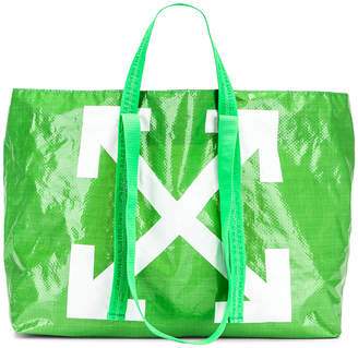 Off-White Off White New Commercial Tote Bag in Green & White   FWRD