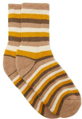 The Elder Statesman Striped Cashmere Socks - Womens - Beige
