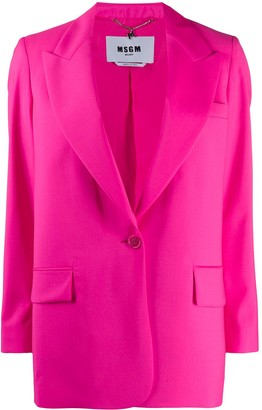 MSGM Peak-Lapel Long-Line Blazer