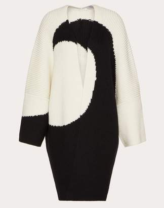 Valentino Oversized Wool Inlay Cardigan Women Ivory Virgin Wool 100% L