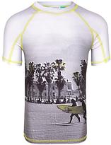 John Lewis Boys' Beach Print Short Sleeve Rashie, Grey