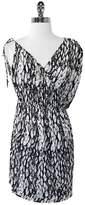 T-Bags LosAngeles TBags Black & White Print Asymmetrical Sleeve Dress