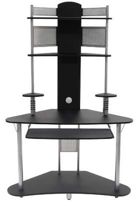 Calico Designs Element Corner Computer Tower With Hutch Silver/Black