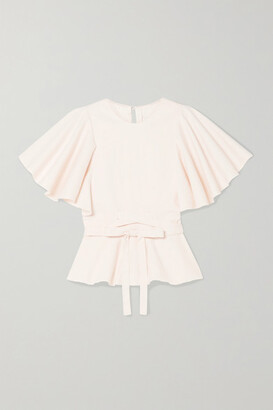 Johanna Ortiz Back To Basics Belted Stretch-cotton Peplum Top - Cream