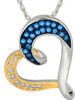 FINE JEWELRY 1/3 CT. T.W. White and Color-Enhanced Blue Diamond Tilted Heart Pendant Necklace