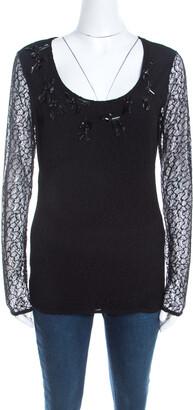 Escada Black Lace Overlay Jersey Crystal Embellished Scoop Neck Erbrou Top XL