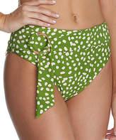 Raisins Women's Bikini Bottoms LEAF - Green Leaf O-Ring Half-Moon Bikini Bottoms - Women