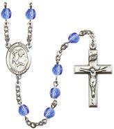 Bonyak Jewelry Rosary Collection -Plated Rosary 6mm September Blue Fire Polished Beads, Crucifix Size 1 3/8 x 3/4. St. Dunstan medal charm