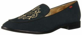 Marc Joseph New York Women's Leather Smoking Loafer with Embroidery Detail