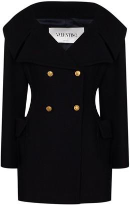 Valentino double-breasted V-neck short coat