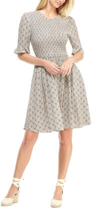 Gal Meets Glam Medallion Tile Elbow-Sleeve Smocked Bodice Fit-&-Flare Dress