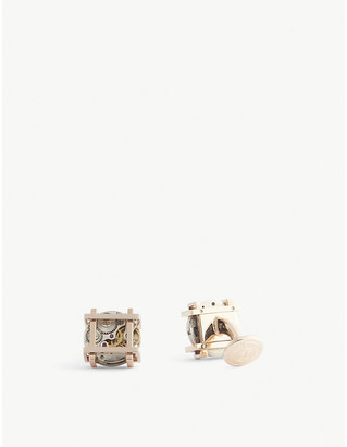 Tateossian Square Gear rose gold-plated sterling silver cufflinks