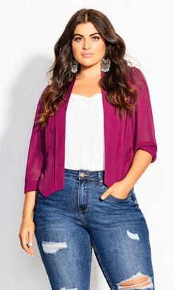 City Chic Cropped Blazer Jacket - raspberry