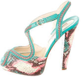 Brian Atwood Printed Peep-Toe Pumps