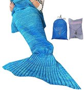 "MOFANG FAMILY Soft Mermaid Tail Blanket Sofa Quilts Sleeping Bag for kids Adult 71""x35"" BLUE with Carry Pouch and Washing Bag"