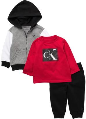 Calvin Klein Brand Logo Hoodie, Long Sleeve T-Shirt, & Knit Pants 3-Piece Set
