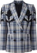 Alexander McQueen double breasted check blazer - women - Cupro/Virgin Wool - 40