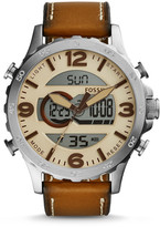 Fossil Nate Analog-Digital Brown Leather Watch