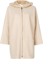 Agnona fur trim ring pull coat - women - Mink Fur/Cashmere - M
