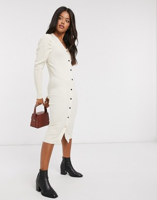 Qed London ribbed puff shoulder midi dress in stone
