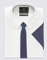 Marks And Spencer Striped Tie & Pocket Square Set