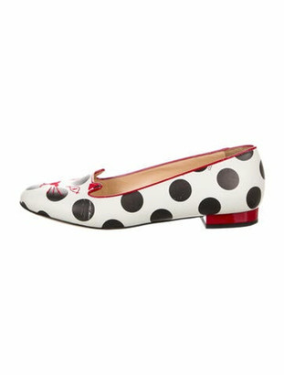 Charlotte Olympia Kitty Leather Ballet Flats White