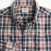 J.Crew Secret Wash shirt in heather poplin grey and red plaid
