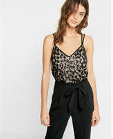Express embroidered leopard print strappy cami