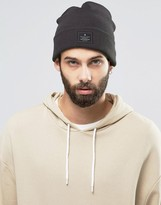 Asos Patch Beanie In Grey