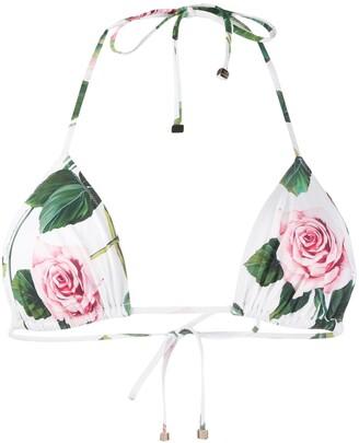 Dolce & Gabbana Rose Print Bikini Top