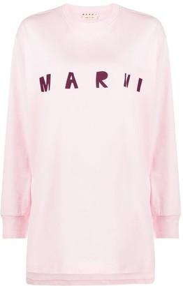 Marni Logo Print High-Low Hem Sweatshirt