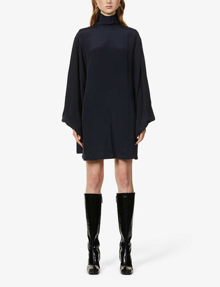 Victoria Beckham Oversized bishop-sleeve silk-crepe mini dress