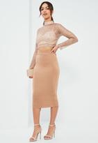 Missguided Nude Jersey Raw Hem Midi Skirt