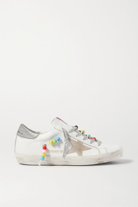 Golden Goose Superstar Bead-embellished Distressed Leather And Suede Sneakers - White