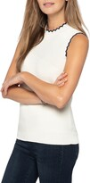 Nic+Zoe Scallop Cotton Blend Sleeveless Sweater