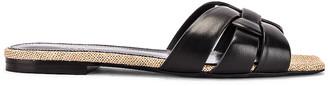 Saint Laurent Leather Slides in Black   FWRD