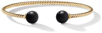 David Yurman 18kt yellow gold Solari black onyx bead cuff bracelet