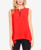 Vince Camuto Quarter-Zip Sleeveless High-Low Hem Top