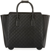 KC Jagger Camilla Quilted Faux-Leather Rolling Bag, Black