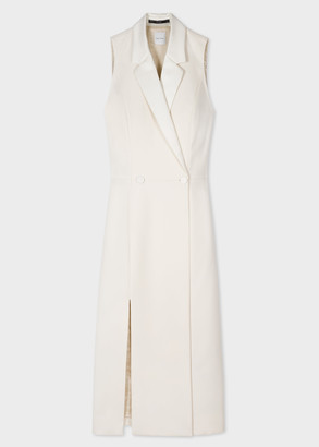 Women's Cream Tuxedo Double-Breasted Dress With Satin Detail