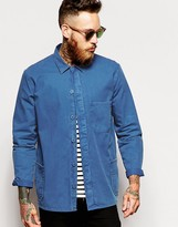 Asos Worker Shirt In Blue With Shacket Styling