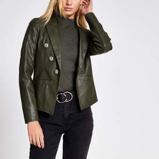 River Island Womens Khaki faux leather button front blazer