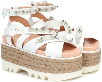 Simone Rocha Embellished leather espadrille sandals