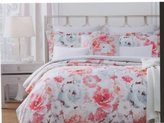 Nicole Miller Bedding Duvet Cover Set King 3 pc Set FLoral Botancial Garden WHite Orange Green Cotton Sateen 300 thread count