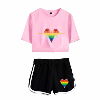 URMOSTIN I'm Pround of You LGBT Gay Lesbian Pride Women's Tracksuits Girl's Summer Crop Tops and Shorts T-Shirt Suits Casual Sportswear Pajamas Yoga Clothes