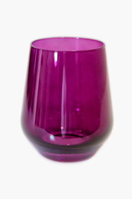 Estelle Colored Glass Emerald Green Stemless Wine Glasses (Set of 6)